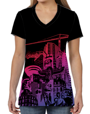 Female V Neck Athleisure Tee - Hot Night Vancouver