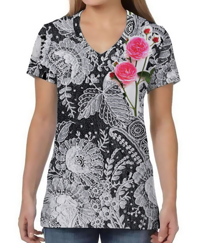 Female V Neck Athleisure Tee - Lace & Roses