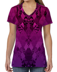 Female V Neck Athleisure Tee - Purple Pink Quilt