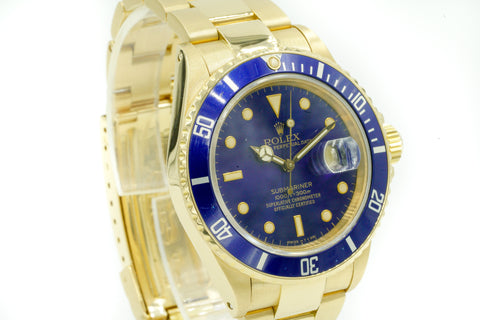 Rolex Submariner Date 16618 R Serial 18k Yellow Gold Blue Dial