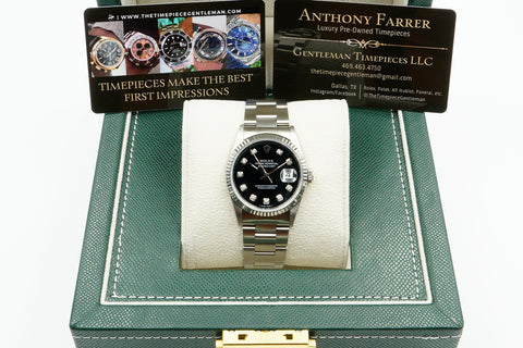 Rolex 16200 Datejust 36mm Black Diamond Dial