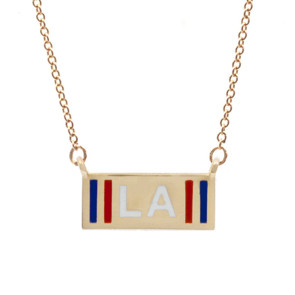 Custom Striped Enamel Initial Necklace