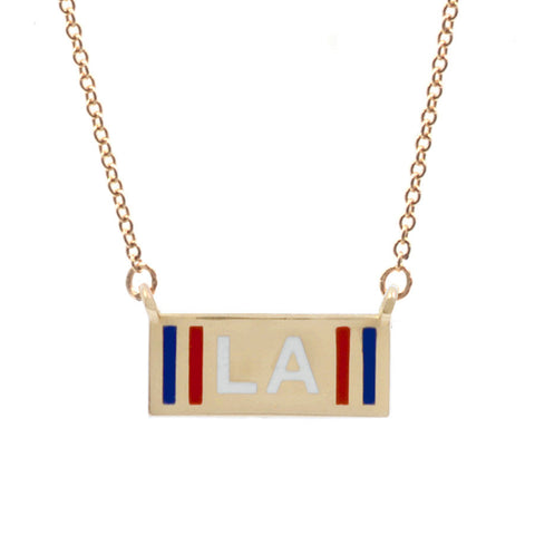 Custom Striped Enamel Initials Necklace