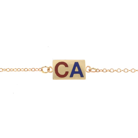 Custom Enamel Two Initial Station Bracelet