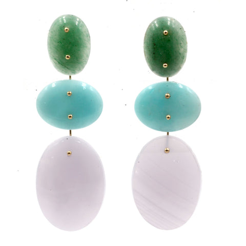 Mobile Earrings Aventurine, Amazonite, Flurite