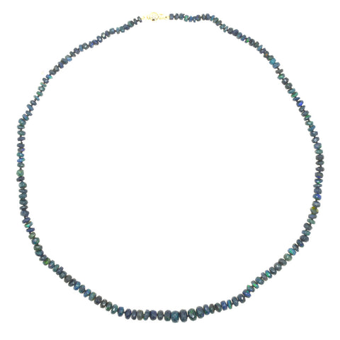 Mini Beaded Ethiopian Opal Necklace - Black with Blue/Green Flashes