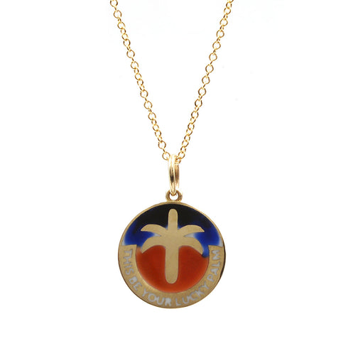 Sunrise Enamel Lucky Palm Necklace