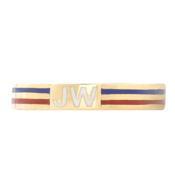 Custom Striped Enamel Initial Ring