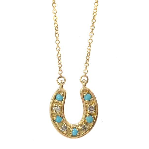 14k Yellow Gold Turquoise and Grey Diamond Horseshoe Necklace