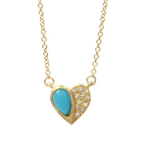 14k Yellow Gold Turquoise Half Heart Necklace