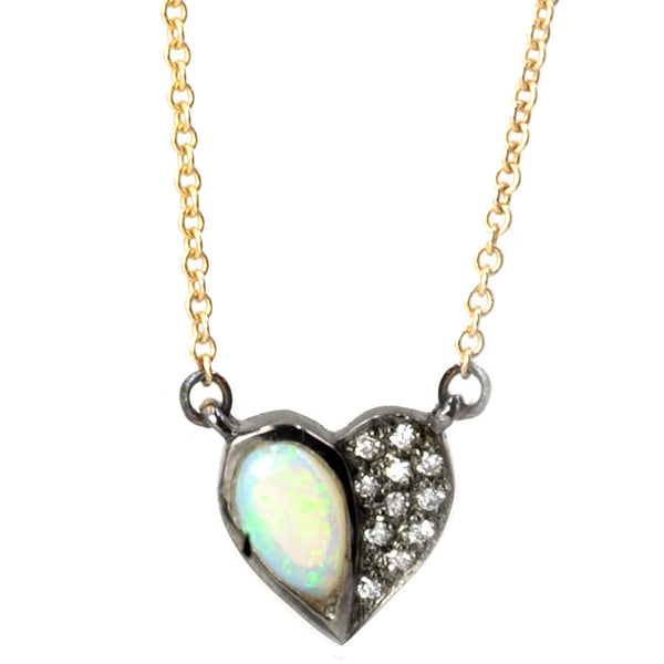 14k Black Rhodium Gold Opal Half Heart Necklace