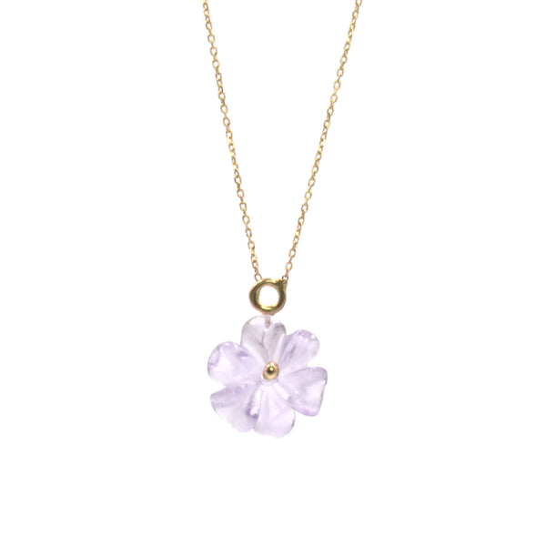 Simple Drop Amethyst Flower Necklace