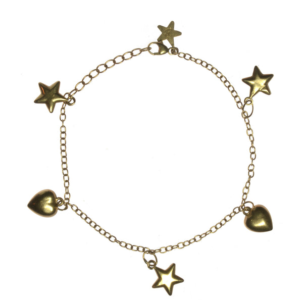 14k Yellow Gold Hearts and Stars Charm Bracelet