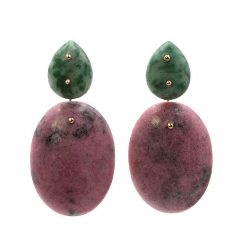 Mobile Earrings Jade Rhodonite