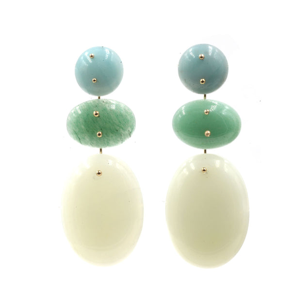 Mobile Earrings Amazonite, Aventurine, Jade