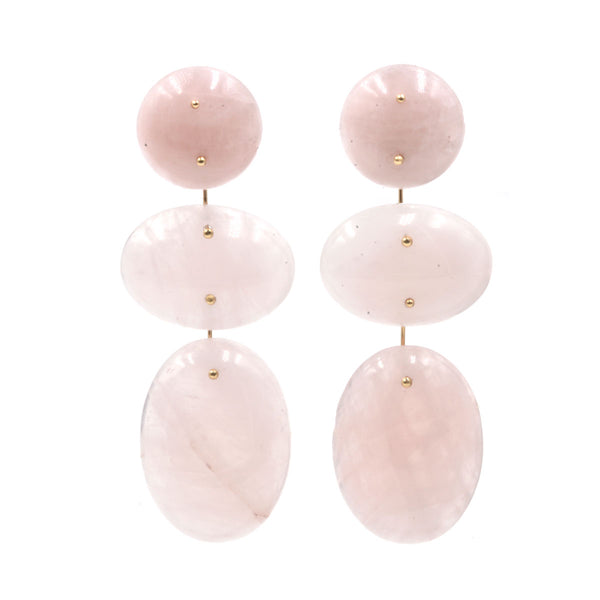 Mobile Earrings Triple Rose Quartz