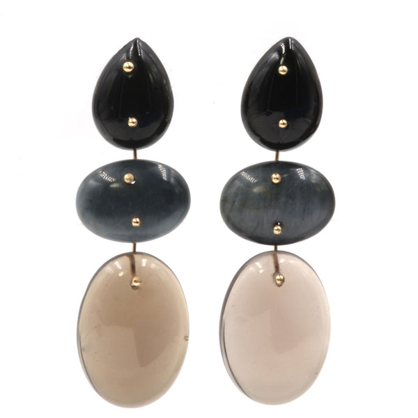 Mobile Earrings Onyx Chrysoberyl Smoky Quartz