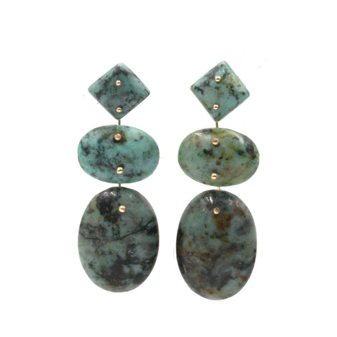 Mobile Earrings African Jasper