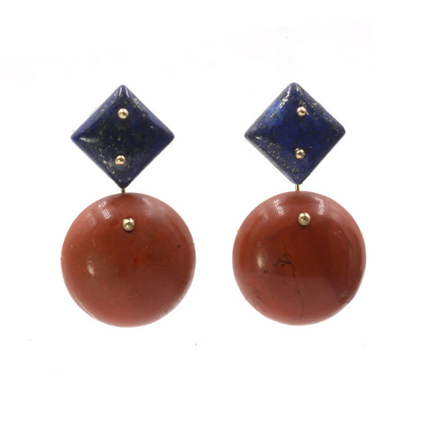 Mobile Earrings Lapis Jasper Round