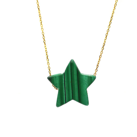 RTS Malachite Simple Drop Star Necklace