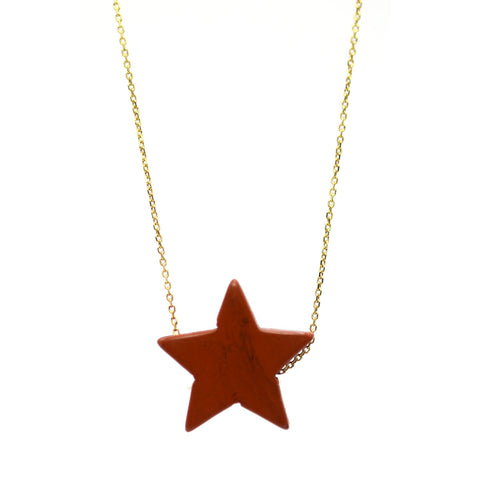 Red Jaser Simple Drop Star Necklace