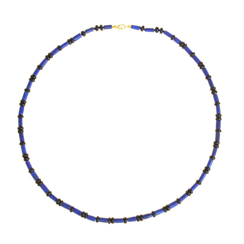 Beaded Mini Onyx and Lapis Necklace