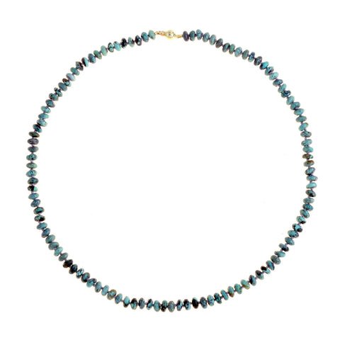 Beaded Turquoise Necklace with Lavender Thread
