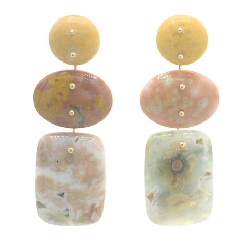Mobile Earrings Yellow Jasper and Ocean Jasper