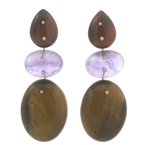 Mobile Earrings Tigers Eye and Amethyst