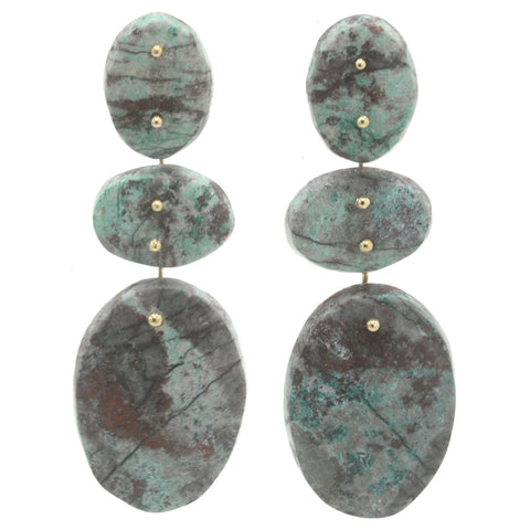 Mobile Earrings Painted Chrysocolla