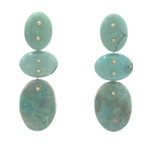 Mobile Earrings Double Turquoise Chrysocolla