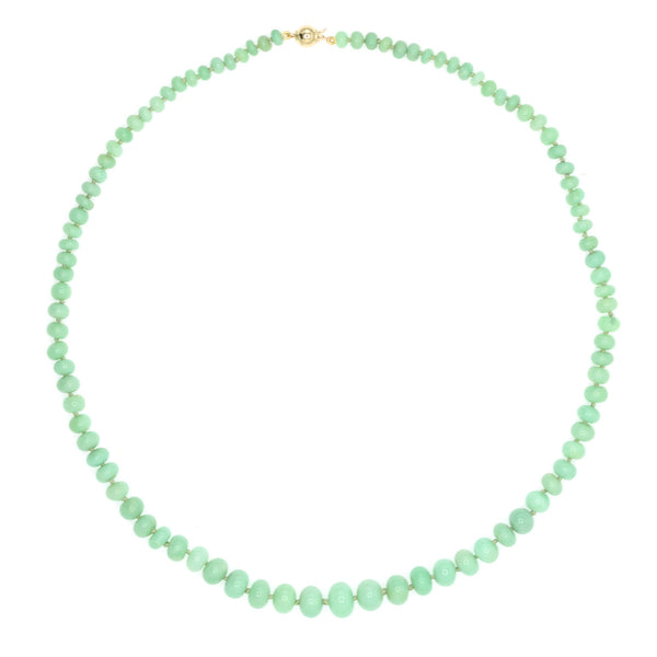Beaded Chrysoprase Necklace - Large, Medium Green