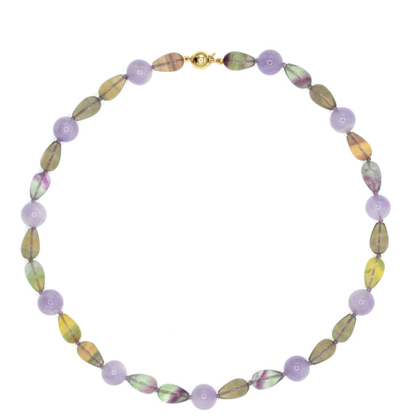 Beaded Fluorite and Amethyst Necklace