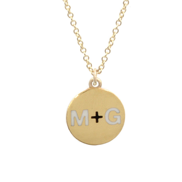 Custom Enamel Round Two Initial Necklace With Heart, Star or Plus Sign