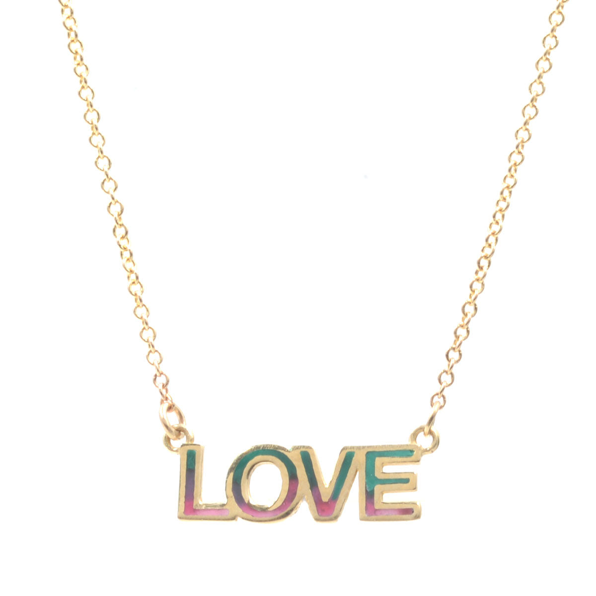 200a6a9b604d2 Tie Dye Enamel LOVE Nameplate Necklace