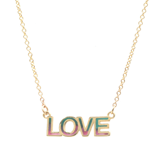 Tie Dye Enamel LOVE Nameplate Necklace