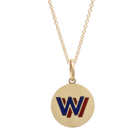 Custom Enamel Round Double Color Initial Necklace