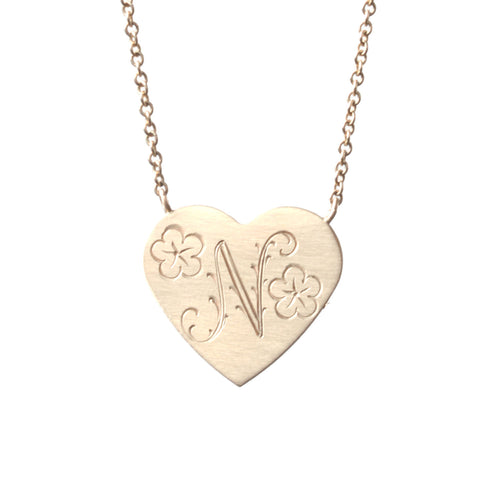 Floral Engraved Heart Necklace