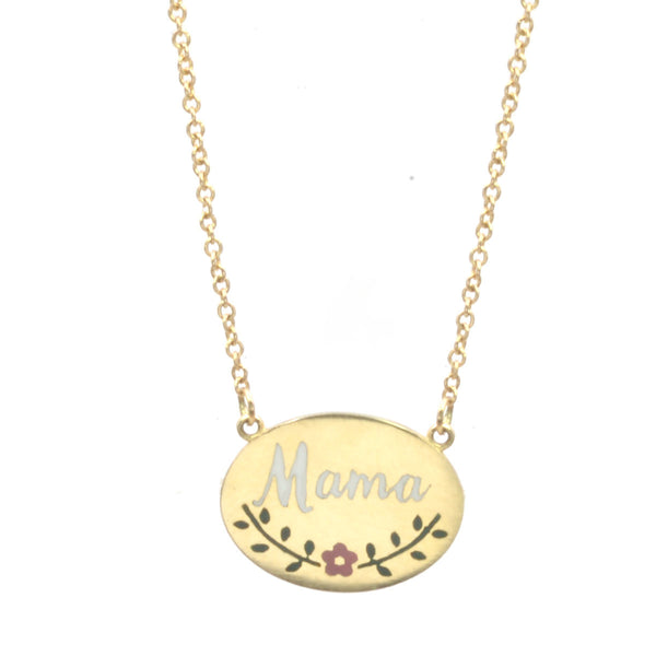 Custom Enamel Floral Signet Necklace