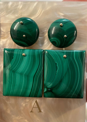 Mobile Earrings Large Malachite Double