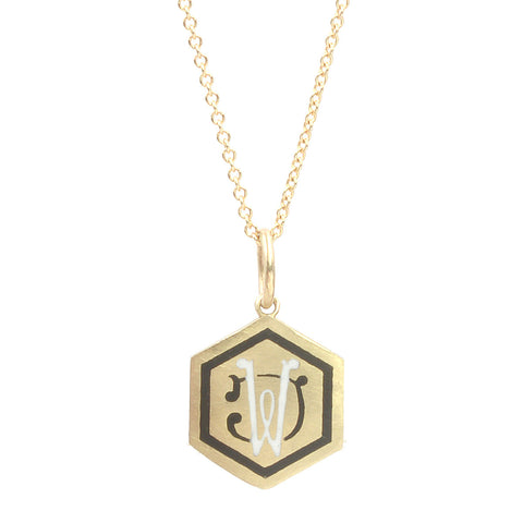 Custom Enamel Intertwined Initials Necklace