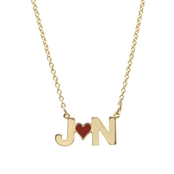 Custom Enamel Heart Initials Necklace