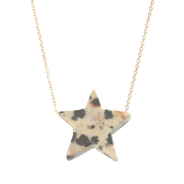 Dalmatian Stone Simple Drop Star Necklace