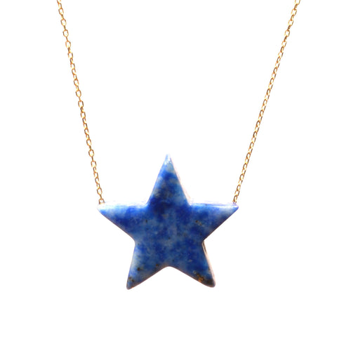 Lapis Simple Drop Star Necklace