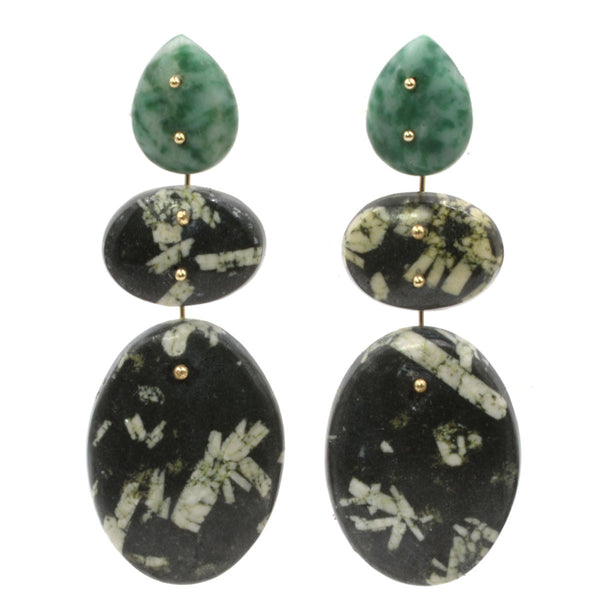 Mobile Earrings Jade Black Chinese Writing Stone