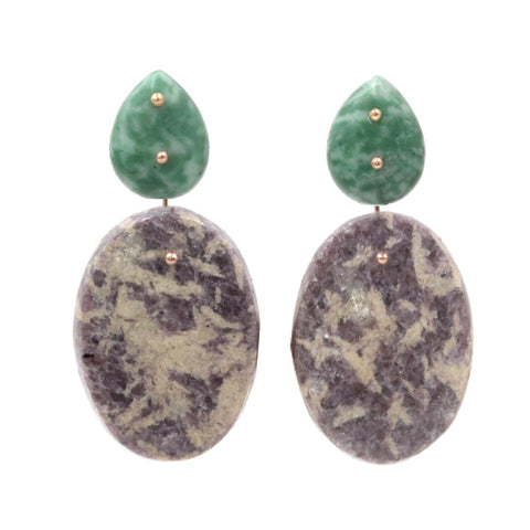 Mobile Earrings Jade Lepidolite