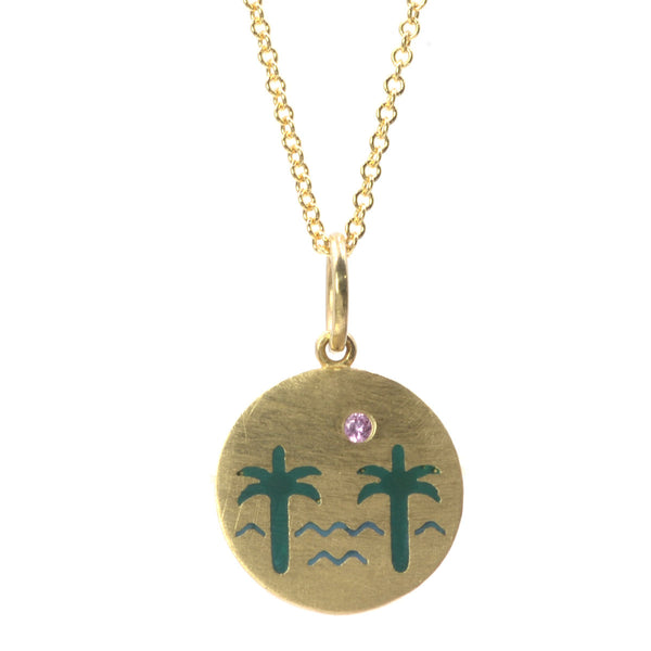 RTS Enamel Venice Palms Necklace with Pink Sapphire