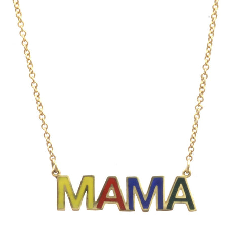 Rainbow Enamel MAMA Nameplate Necklace
