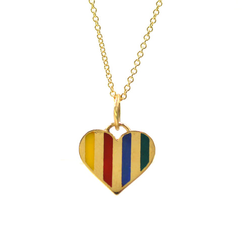 Enamel Striped Heart Necklace