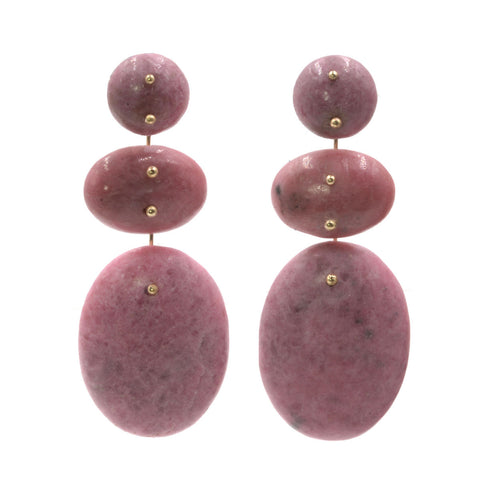 Mobile Earrings Triple Rhodonite